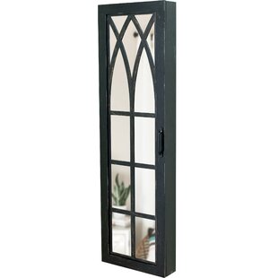 Gracie Oaks Pandora Arch Over The Door Jewelry Armoire with Mirror