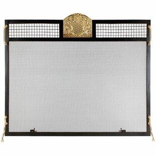 Pineapple Emblem Single Panel Iron Fireplace Screen by Minuteman International