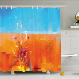 Watercolor Flower Home Meadows under Blue Sky Natural Beauty Floral Illustration Shower Curtain Set