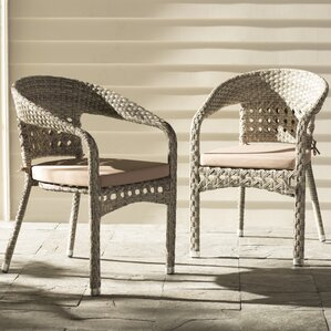 alex stacking patio dining chair with cushion set of 2