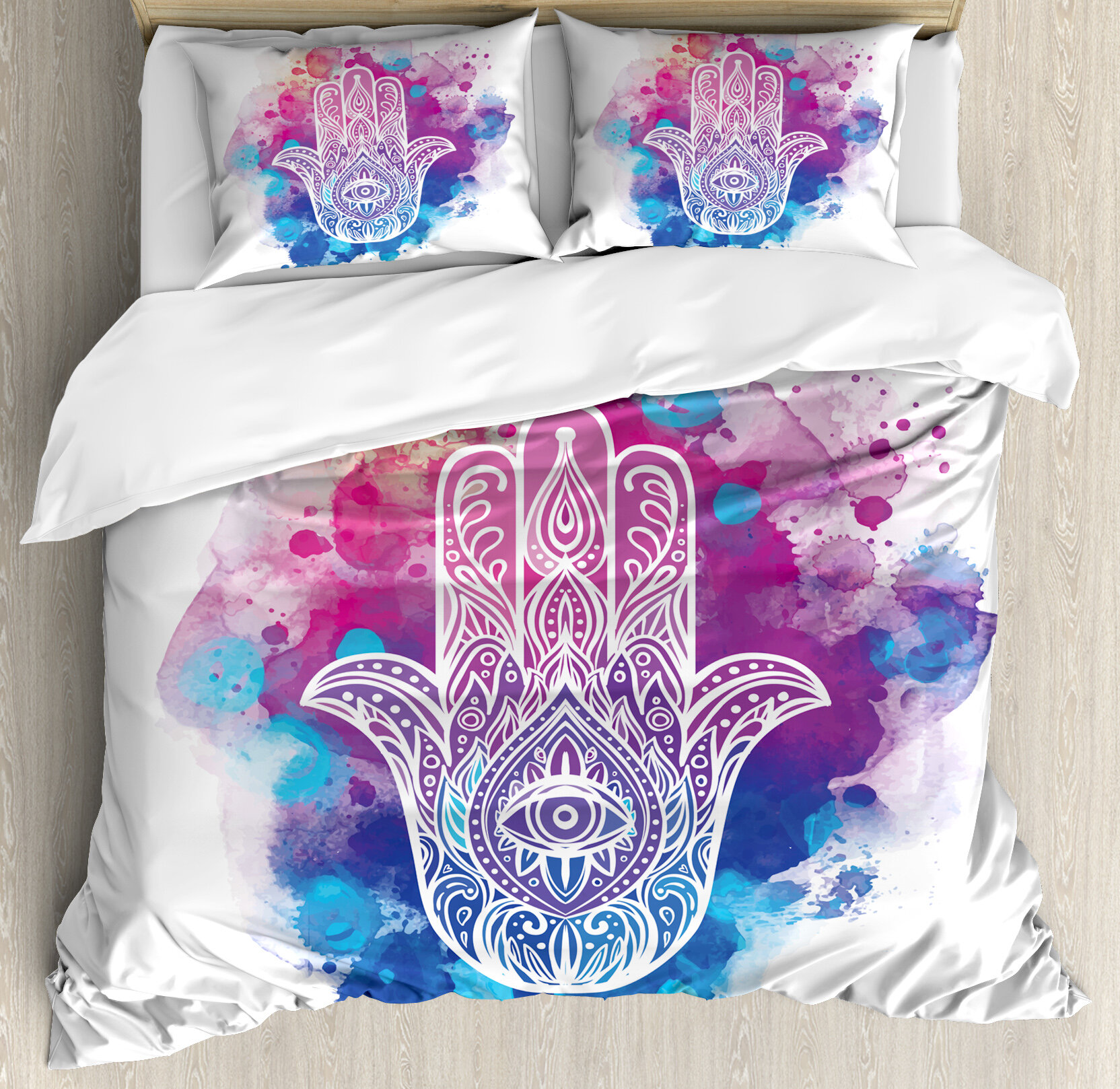Ambesonne Evil Eye Ornate Hand Drawn Hamsa On Watercolor Splashes Artistic Energetic Print Duvet Cover Set Wayfair