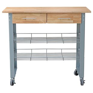 Latitude Run Mcdonald Kitchen Cart with Solid Wood Top