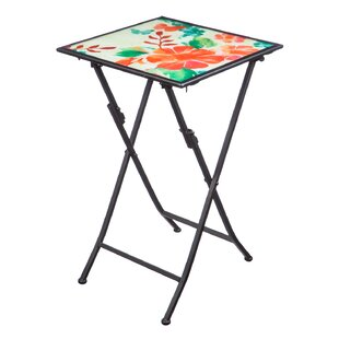 Barns Watercolor Floral Folding Steel Bistro Table