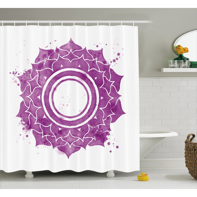 Kyoto Chakra Watercolor Flower With Sketch Splashes Around Universe Ethereal Artwork Shower Curtain