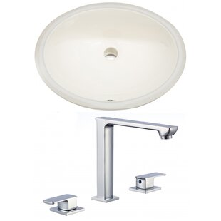 Royal Purple Bath Kitchen CUPC Ceramic Oval Undermount Bathroom Sink with Faucet and Overflow