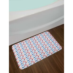 Animal Pattern Octopus Whale Starfish Shellfish Abstract Marine Illustration Bath Rug
