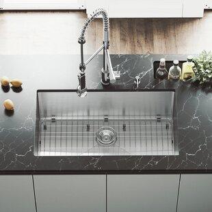 VIGO 32 inch Undermount Single Bowl 16 Gauge Stainless Steel Kitchen Sink with Zurich Chrome Faucet, Grid, Strainer and Soap Dispenser