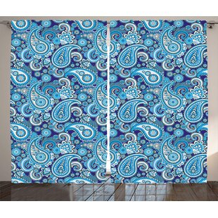 Traditional Flowers Leaves Decor Room Darkening Rod Pocket Curtain Panels (Set of 2) by East Urban Home