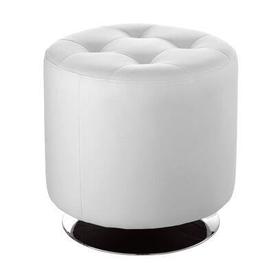 Wade Logan Brierfield Domani Swivel Ottoman Upholstery Color: White