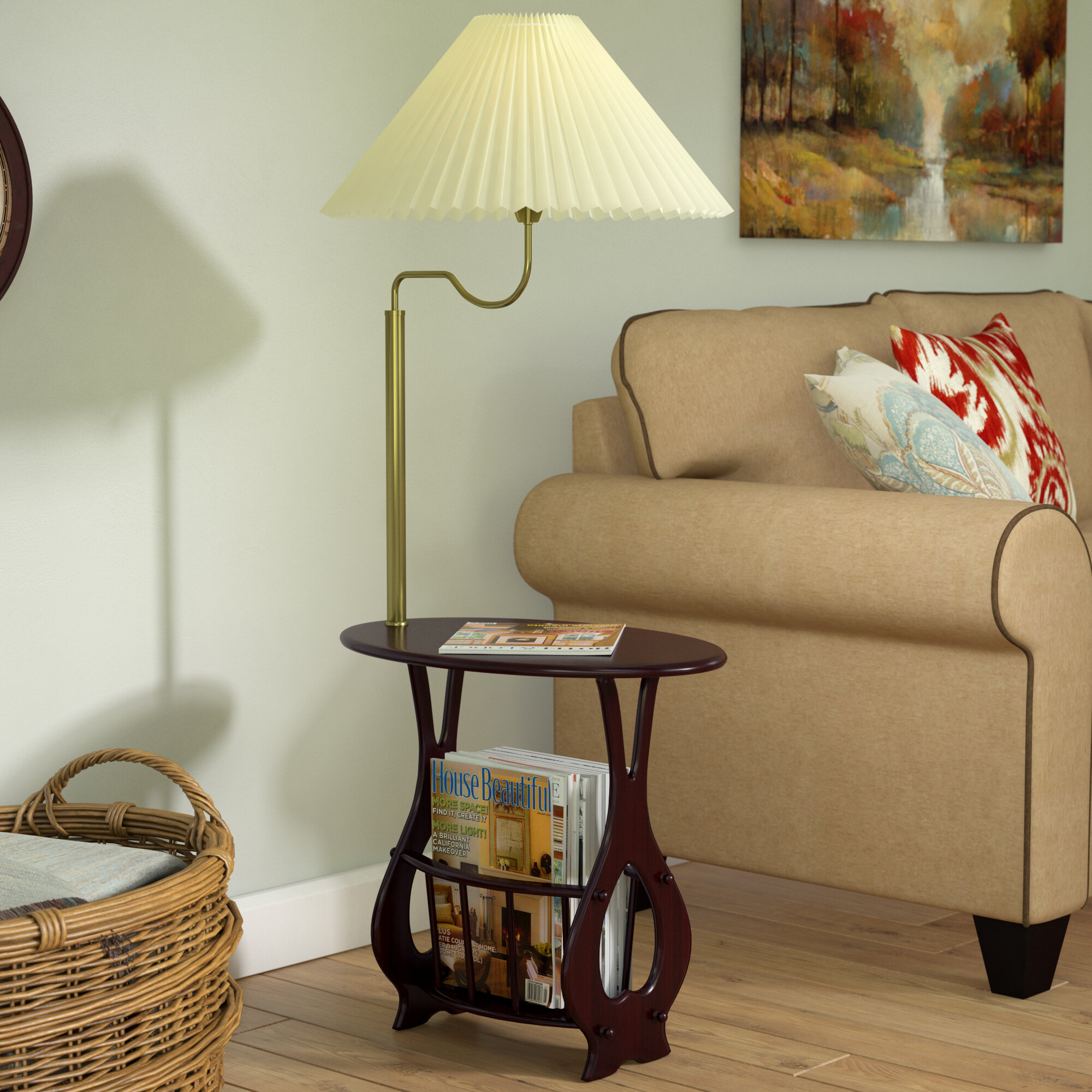 Darby Home Co Portersville Floor Lamp End Table Magazine Rack Combination Reviews Wayfair