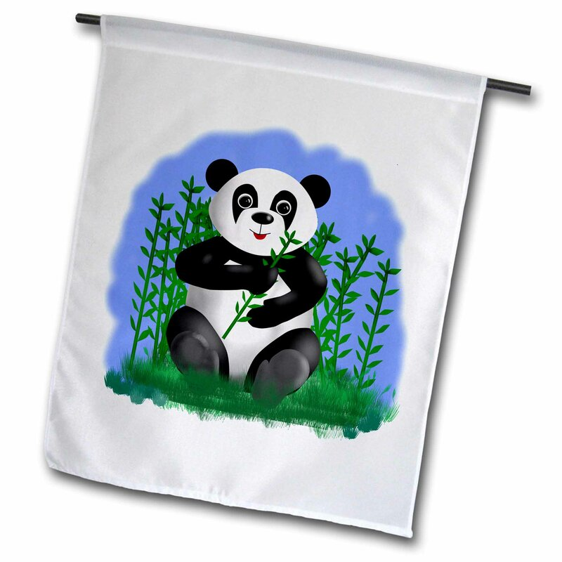 3drose Cute Cartoon Panda Eating A Bamboo Stalk Polyester 18 X 12 In Garden Flag Wayfair