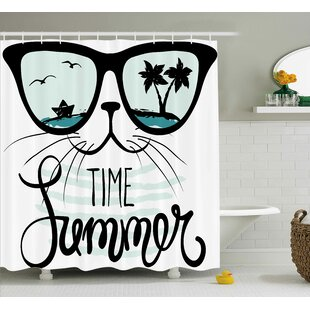 Aluin Hipster Cat with Palms Single Shower Curtain
