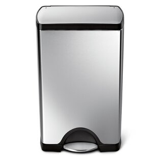 10 Gallon Rectangular Step Trash Can Brushed Stainless Steel