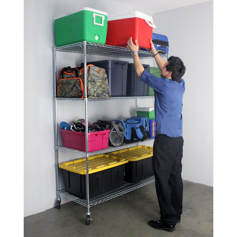 4 Tier Layer Shelf Wire Shelf Shelving Storage Rack Organizer Hook/&Wheel-US