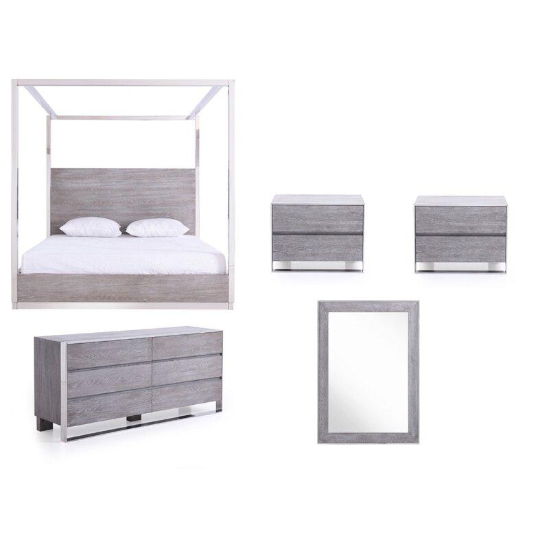 Orren Ellis Gutfroind Pulliat King Canopy 5 Piece Bedroom Set Wayfair