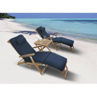 Gonzalo Reclining Teak Sun Lounger Set with Table
