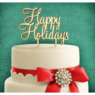 Happy Holidays, Wooden Cake Topper