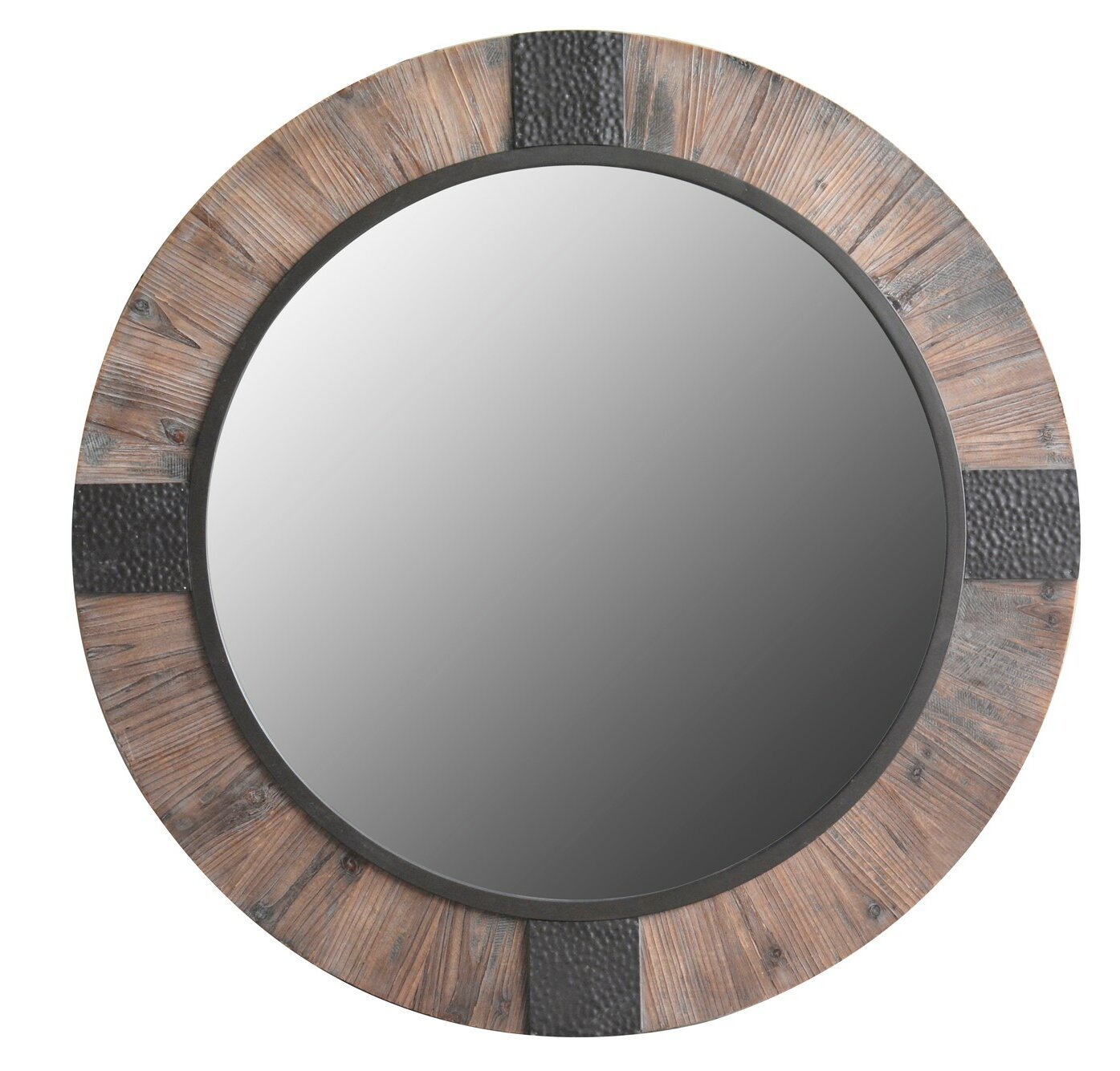 Mariner Round Wood And Metal Decorative Rustic Wall Mirror