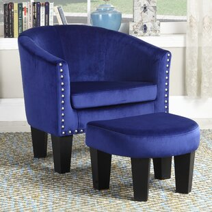 Brewer Velvet Accent Chair with Ottoman By House of Hampton