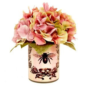 Pink and Light Yellow Hydrangea Decoupage Pot
