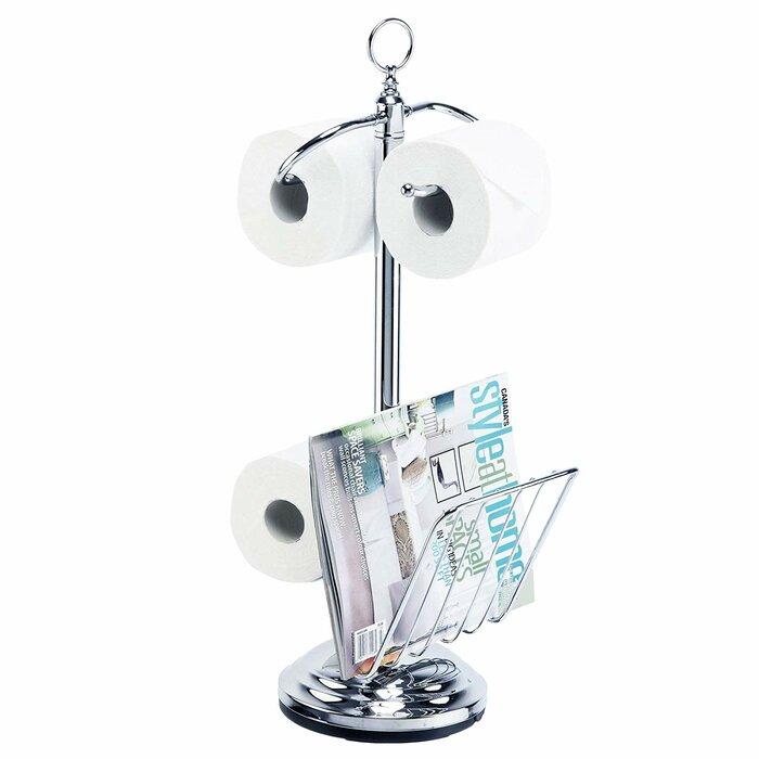 Freestanding Toilet Paper Holder With Magazine Rack