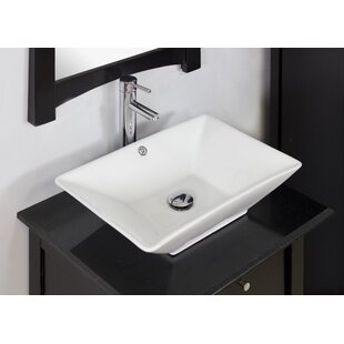American Imaginations Ceramic Rectangular Vessel Bathroom Sink with Overflow