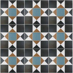 Modern contemporary geometric floor tiles allmodern narcisso nouveau 13 x 13 porcelain tile in blackbluebeige ppazfo