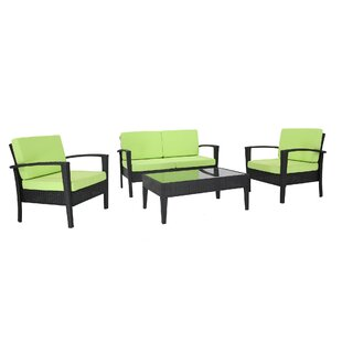 Nye 4 Piece Conversation Set with Cushions by Ebern Designs