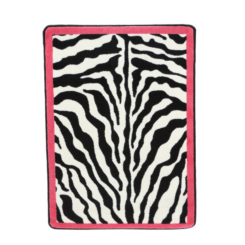 Exceptional Zebra Glam Pink Passion Black/White Area Rug