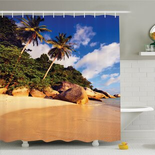 Palm Tree Tropical Beach Serenity in Nature Exotic Fruit Coconut Rock Seascape Print Shower Curtain Set