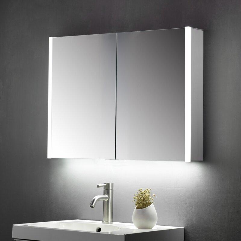 Belfry Bathroom Crumb 70cm H X 60cm W Wall Mounted Mirror Cabinet With Led Lighting Reviews Wayfair Co Uk