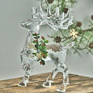 Acrylic Reindeer with Mistletoe Decoration Figurine