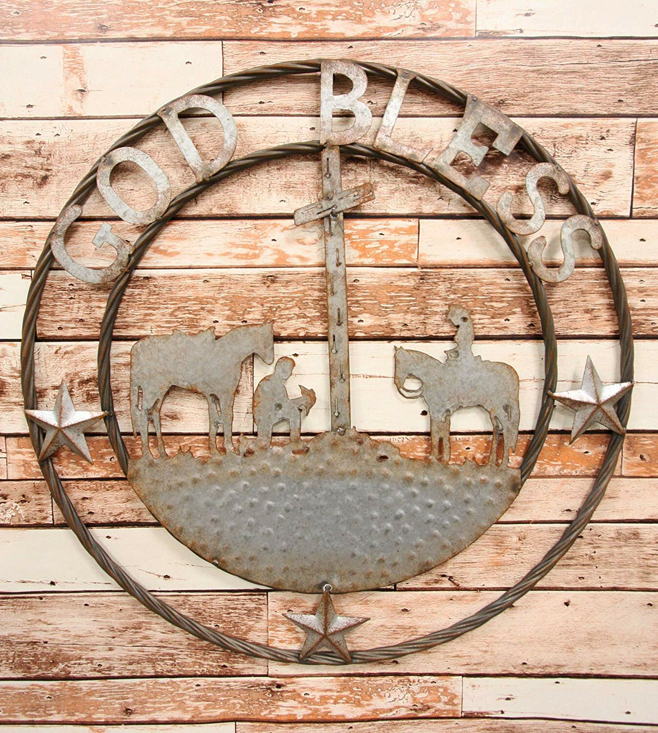 BOOTS SPURS WALL WORD SIGN RUSTIC WESTERN METAL ART VINTAGE COUNTRY BATH DECOR