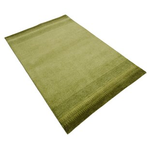 Indo Gabbeh Chenar Hand Knotted Wool Green Rug by Parwis