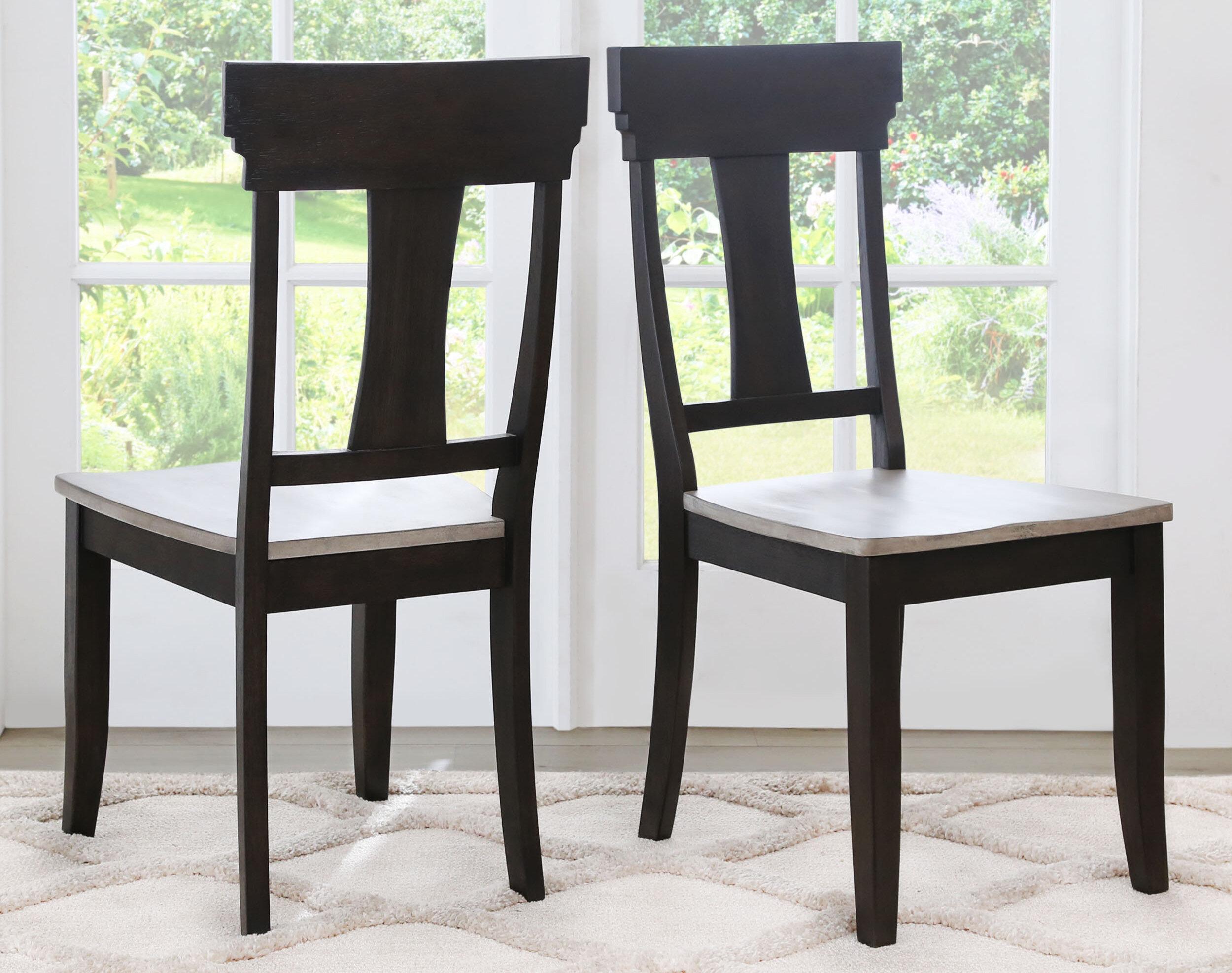 Gracie Oaks Clark Solid Wood Slat Back Side Chair Wayfair