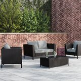 Whittiker 4 Piece Rattan Sofa Seating Group with Cushions by Wrought Studio