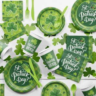 Shamrock Plaid St Patrick's Day Paper/Plastic Party Supplies Kit (Set of 81)