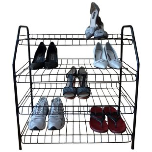 Contemporary 4-Tier 12 Pair Shoe Rack By ATH Home