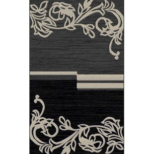 Reviews Erasmus Gray/Black Area Rug By Fleur De Lis Living
