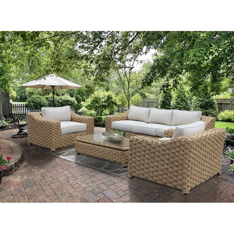 Dutil 4 Piece Rattan Sofa Seating Group with Cushions