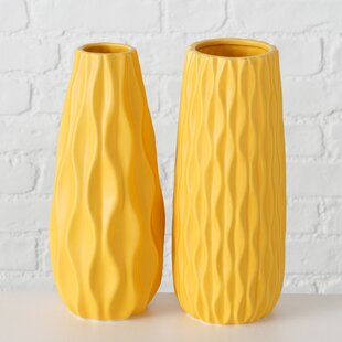 2 Piece Colletta Yellow Stoneware Table Vase Set
