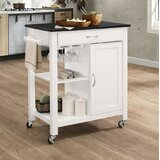Rodrigues Kitchen Cart with Solid Wood Top by Charlton Home®