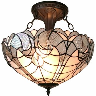 Amora Lighting Tiffany 2-Light Semi Flush Mount