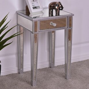 SantaClara 2 PCS Mirrored Accent Table Nightstand End Table Storage Cabinet Drawer