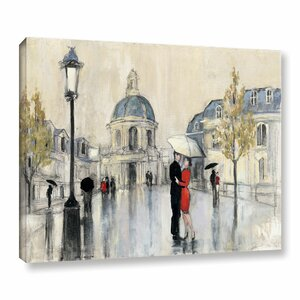 Spring Rain Paris Painting Print on Wrapped Canvas