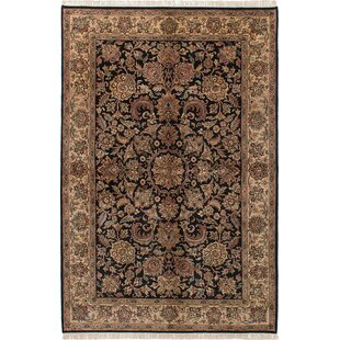 One-of-a-Kind Halloran Hand-Knotted Black Area Rug Isabelline