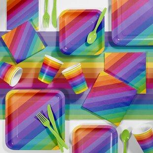 Rainbow Party Paper/Plastic Supplies Kit (Set of 81)