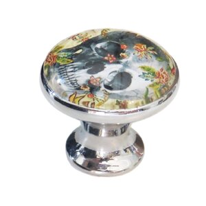 Skull in Flower Novelty Knob