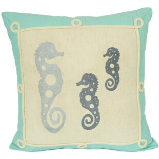 Caldera Seahorse Silhouette Decorative Cotton Throw Pillow