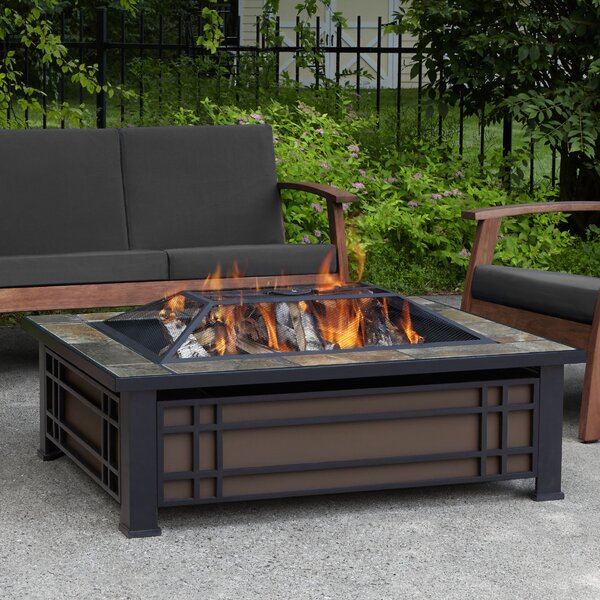 Real Flame Hamilton Steel Wood Burning Fire Pit Table